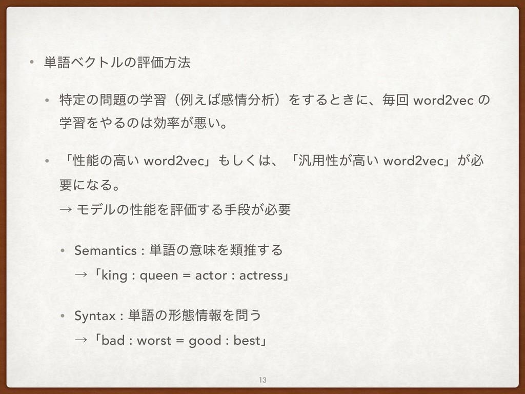 • ୯ޠϕΫτϧͷධՁํ๏ • ಛఆͷͷֶशʢྫ͑ײੳʣΛ͢Δͱ͖ʹɺຖճ word...