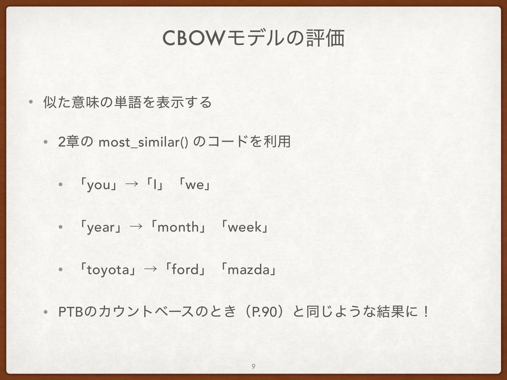 CBOWϞσϧͷධՁ • ͨҙຯͷ୯ޠΛදࣔ͢Δ • 2ষͷ most_similar() ...