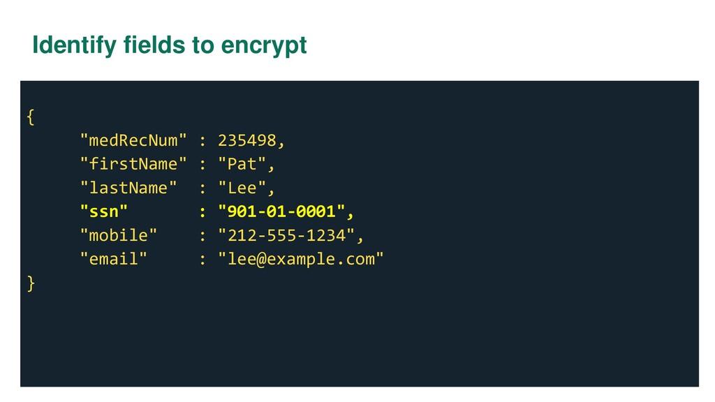 "Identify fields to encrypt { ""medRecNum"" : 2354..."
