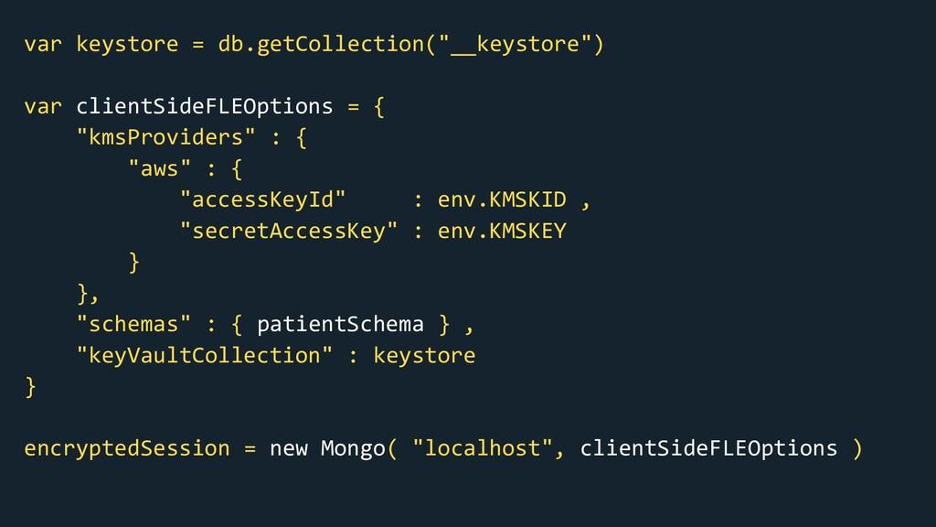 """var keystore = db.getCollection(""""__keystore"""") v..."""
