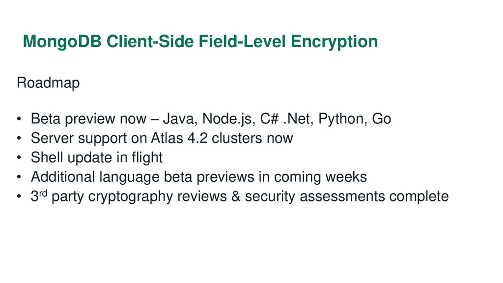 MongoDB Client-Side Field-Level Encryption Road...