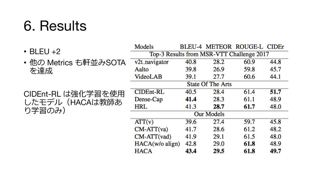 6. Results • BLEU +2 •  Metrics SOTA  C...