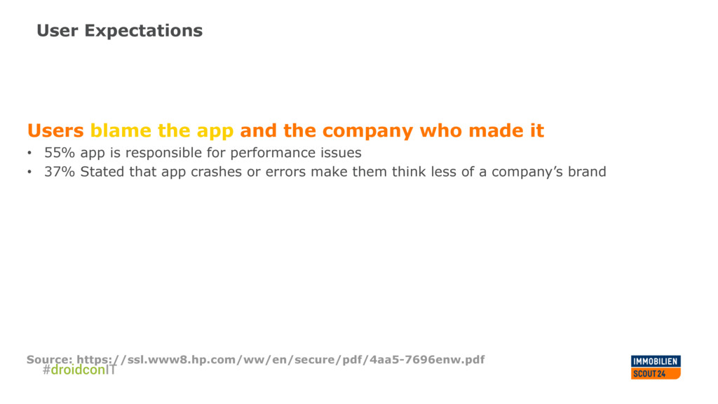 User Expectations Users blame the app and the c...