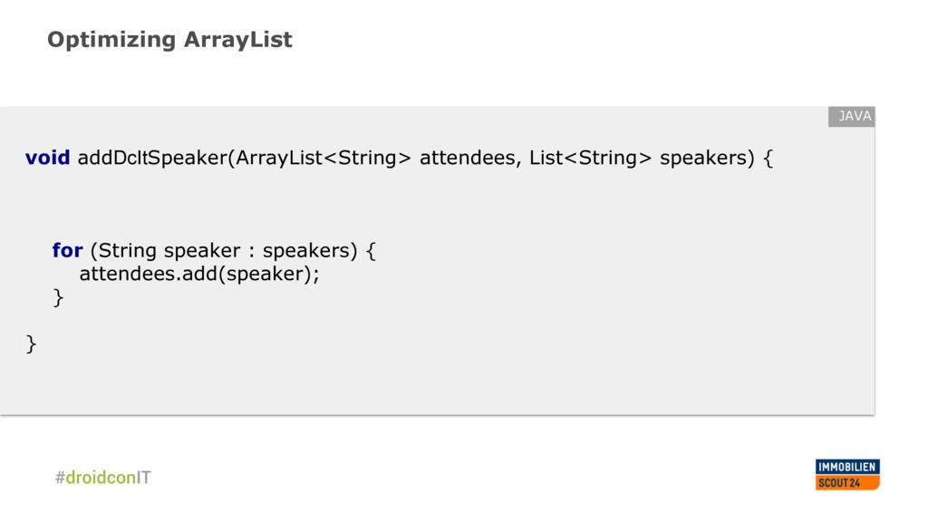Optimizing ArrayList void addDcItSpeaker(ArrayL...
