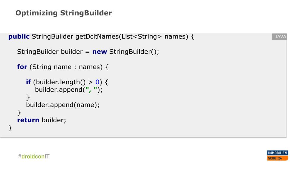 Optimizing StringBuilder public StringBuilder g...