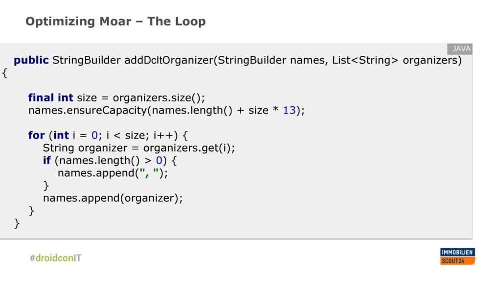 Optimizing Moar – The Loop public StringBuilder...
