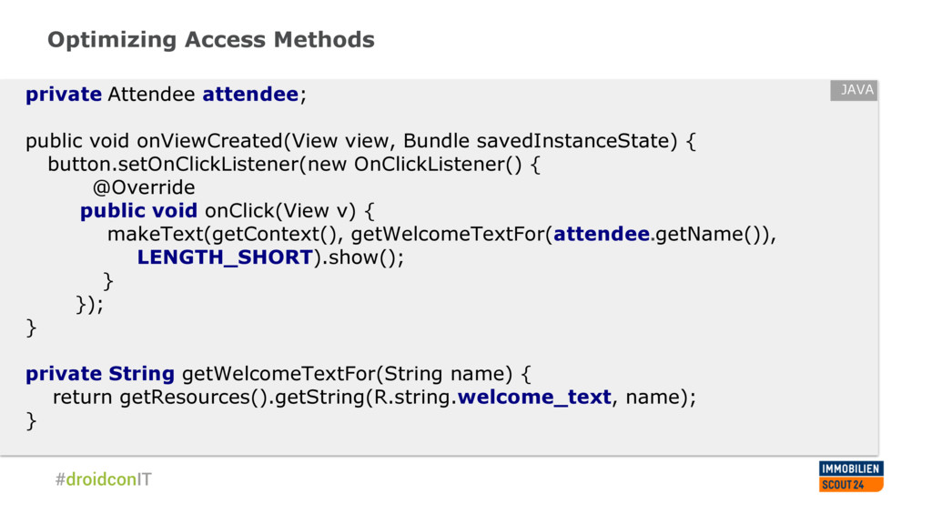 Optimizing Access Methods private Attendee atte...