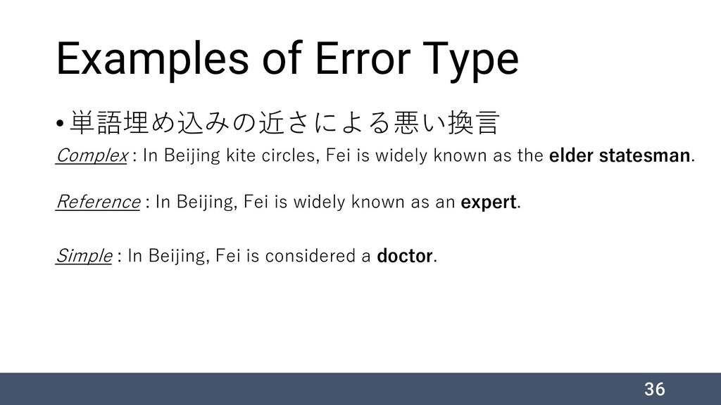 Examples of Error Type •単語埋め込みの近さによる悪い換言 Comple...