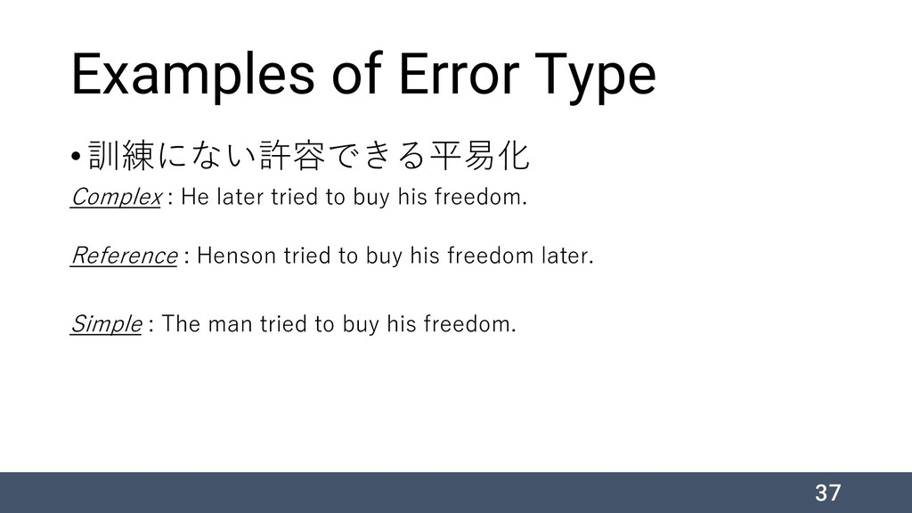 Examples of Error Type •訓練にない許容できる平易化 Complex :...