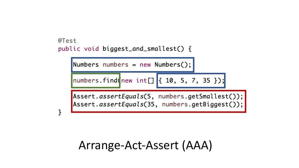 Arrange-Act-Assert (AAA)