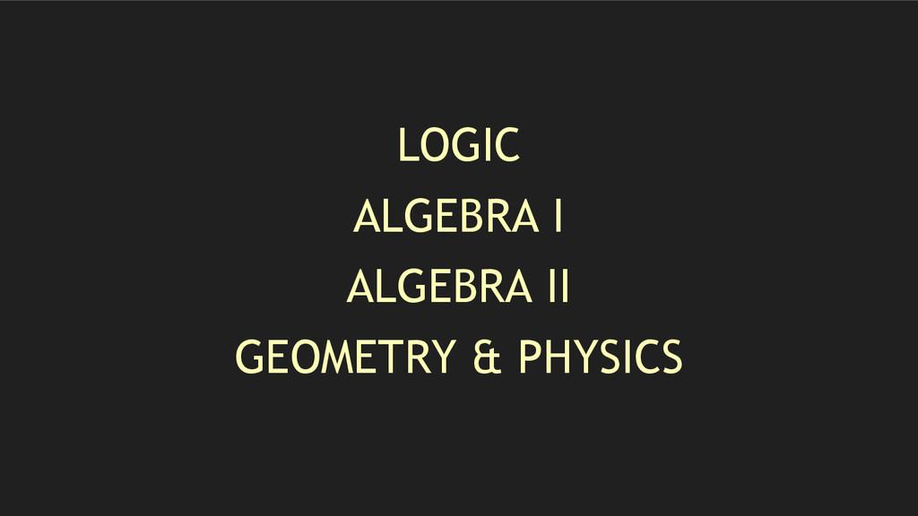 LOGIC ALGEBRA I ALGEBRA II GEOMETRY & PHYSICS