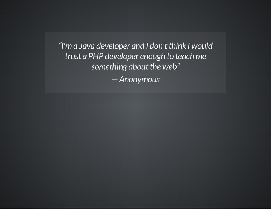 """I'm a Java developer and I don't think I would..."