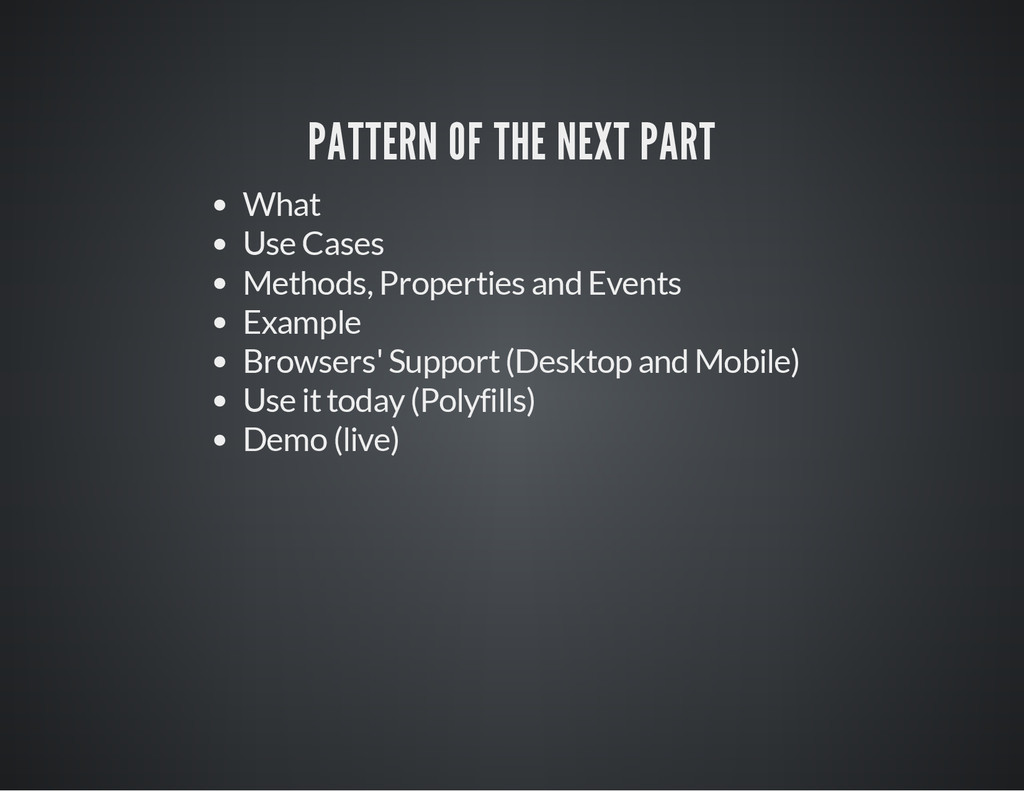 PATTERN OF THE NEXT PART What Use Cases Methods...