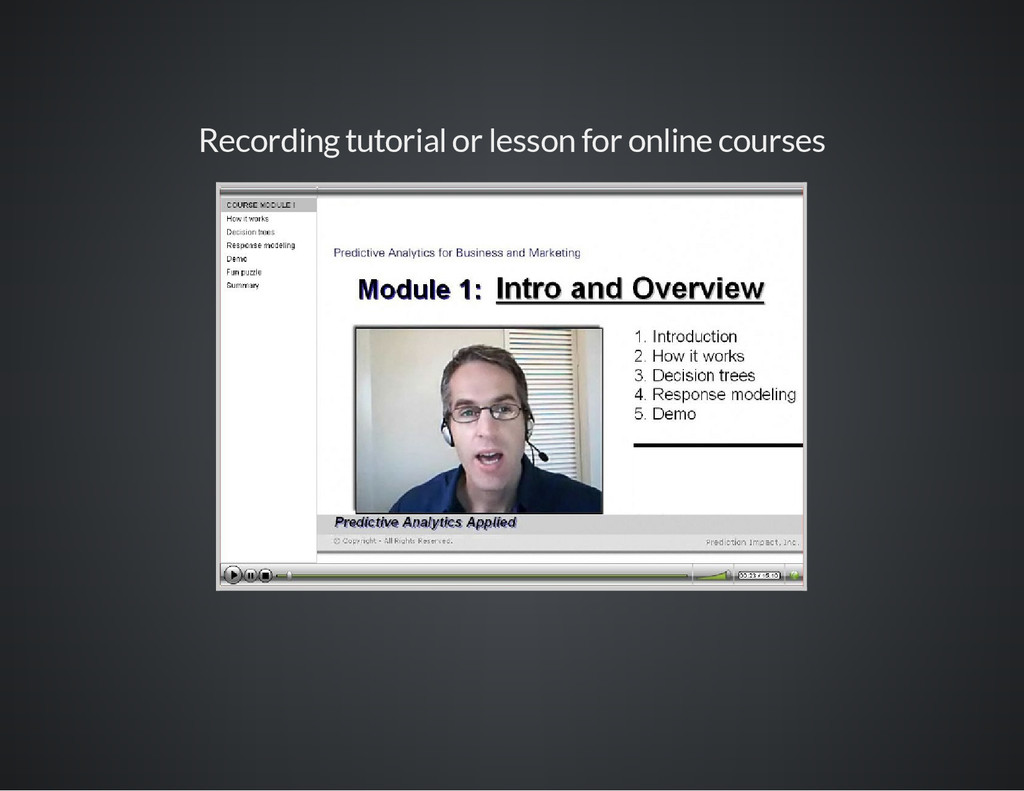 Recording tutorial or lesson for online courses