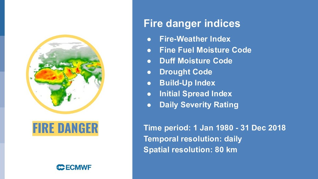 Fire danger indices ● Fire-Weather Index ● Fine...