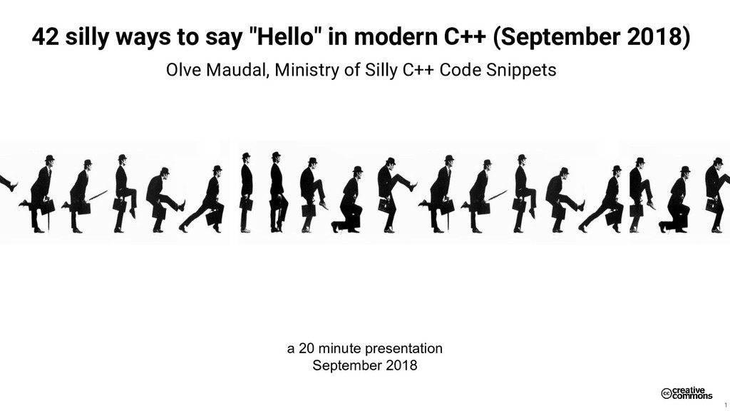 """42 silly ways to say """"Hello"""" in modern C++ (Sep..."""