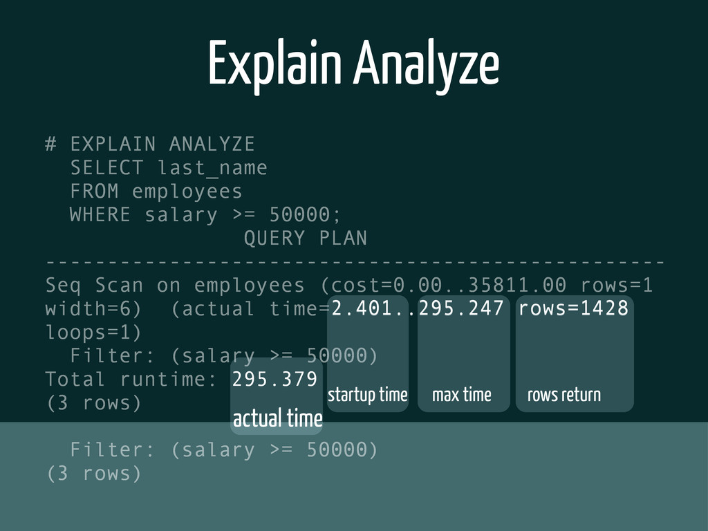 Explain Analyze # EXPLAIN ANALYZE SELECT last_n...