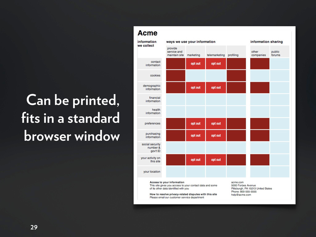 29 Can be printed, fits in a standard browser wi...