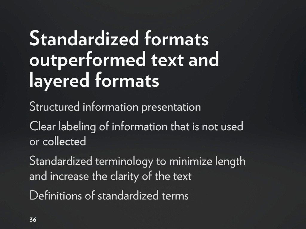 Standardized formats outperformed text and laye...