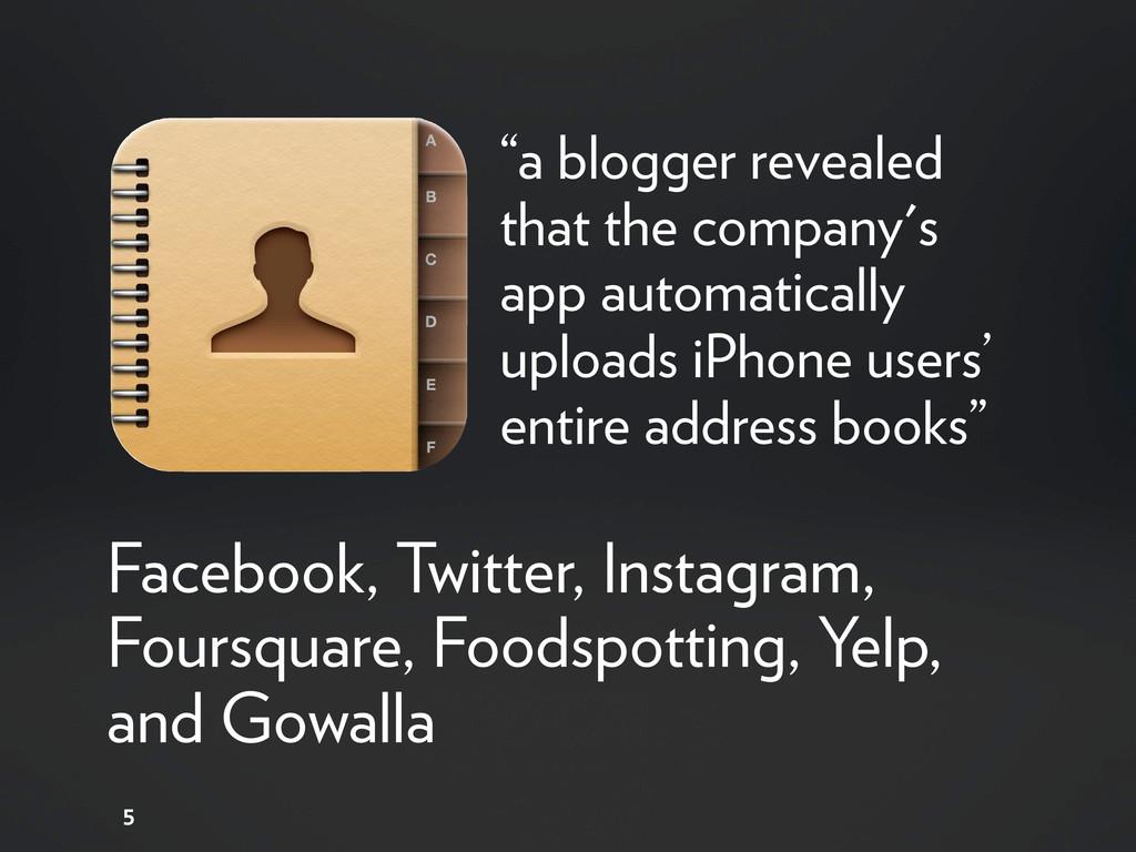 5 Facebook, Twitter, Instagram, Foursquare, Foo...