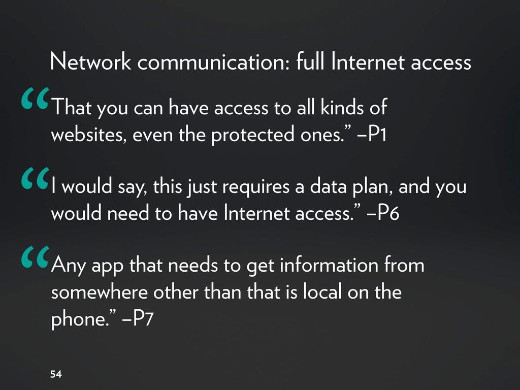 Network communication: full Internet access 54 ...