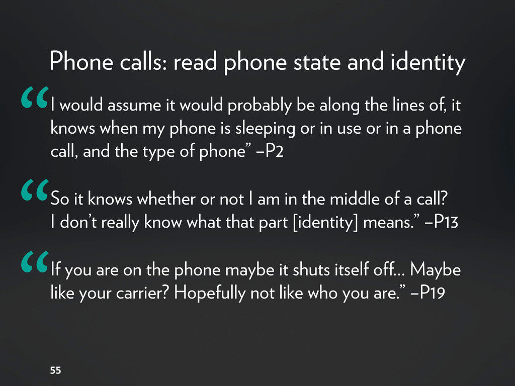Phone calls: read phone state and identity 55 I...