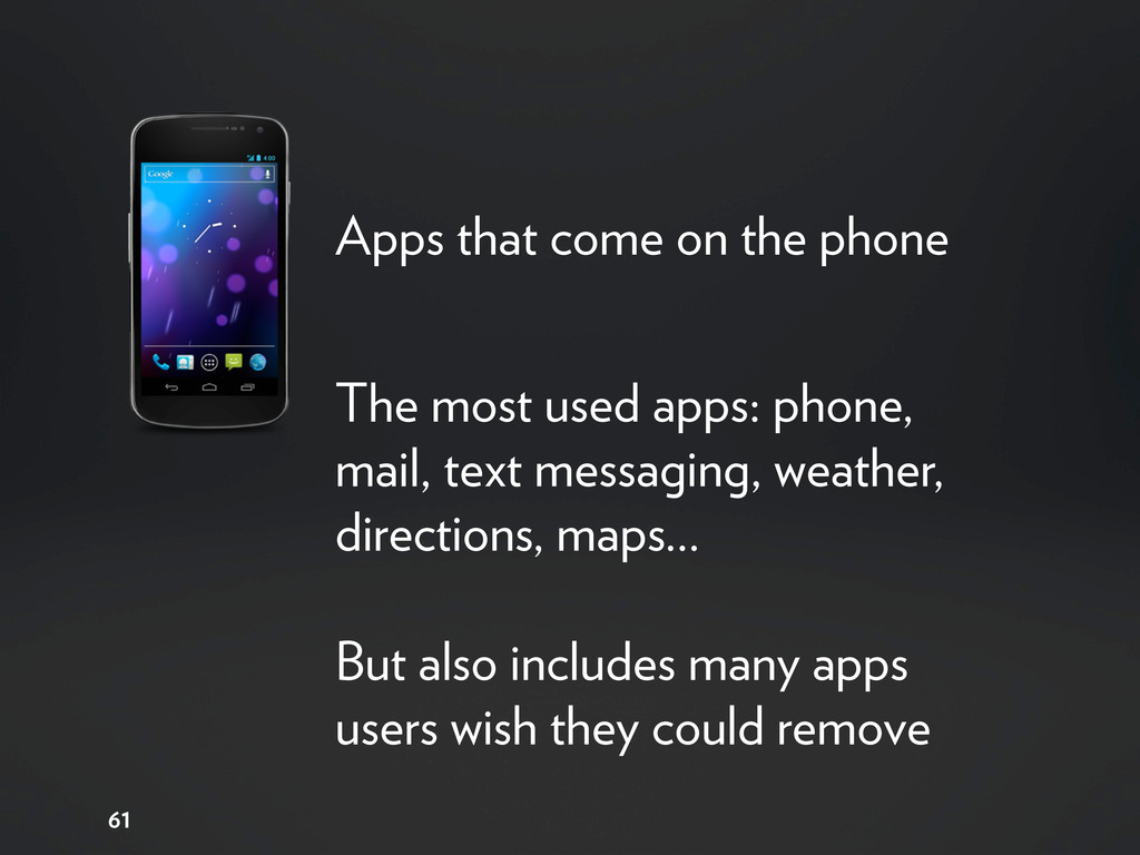 61 Apps that come on the phone The most used ap...
