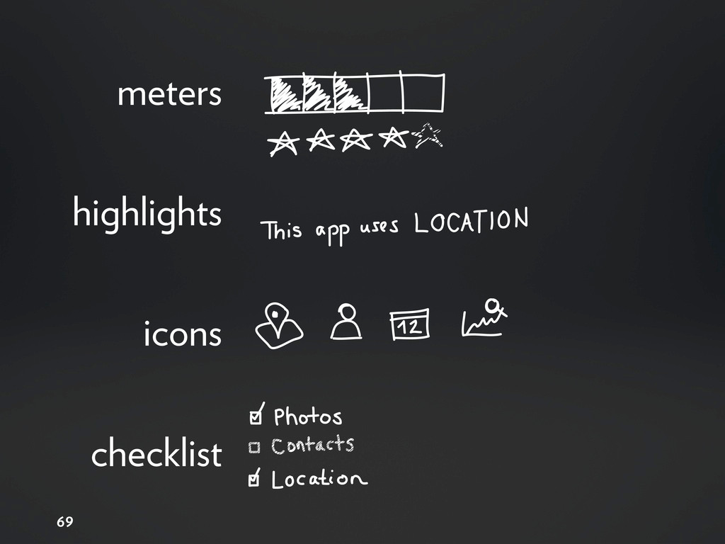 69 meters highlights icons checklist