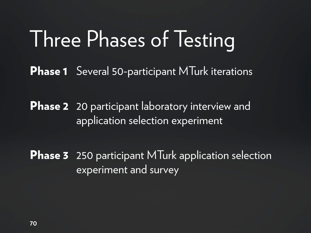 Three Phases of Testing Phase 1 Several 50-part...