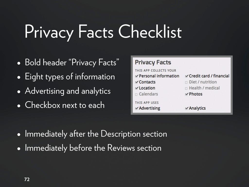 "Privacy Facts Checklist • Bold header ""Privacy ..."