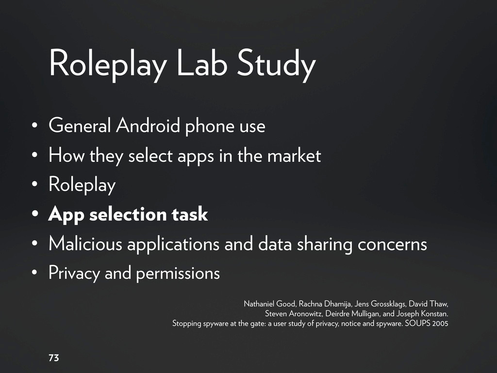 Roleplay Lab Study • General Android phone use ...
