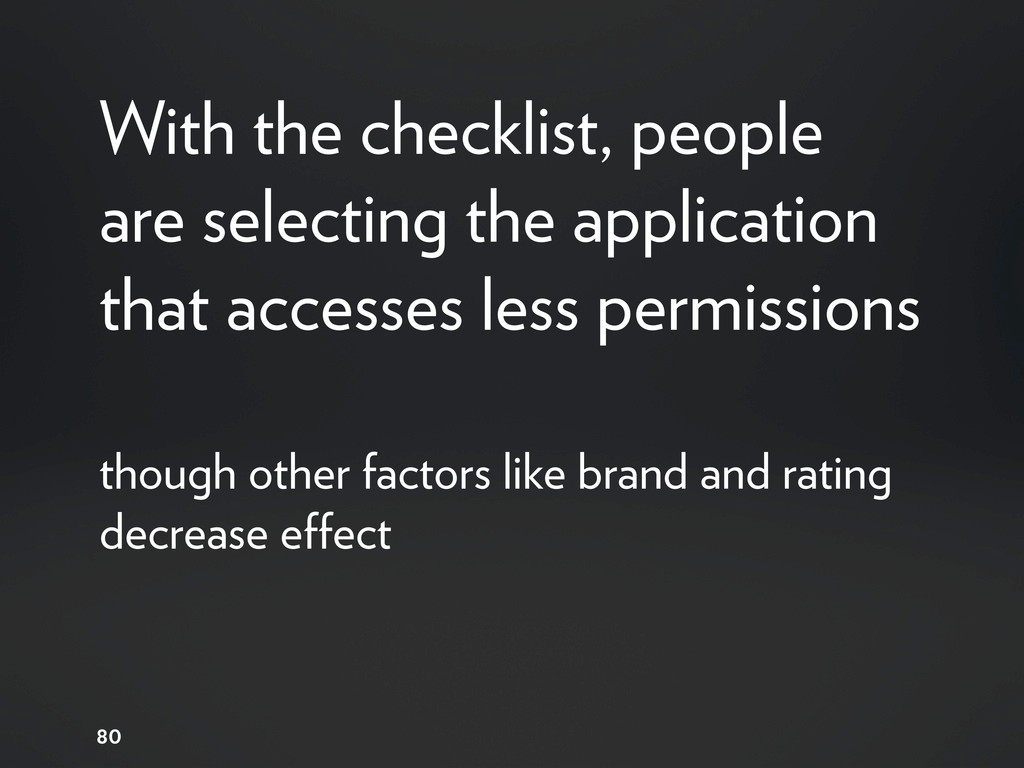 With the checklist, people are selecting the ap...