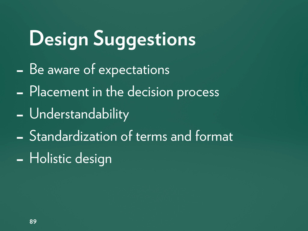 Design Suggestions 89 - Be aware of expectation...