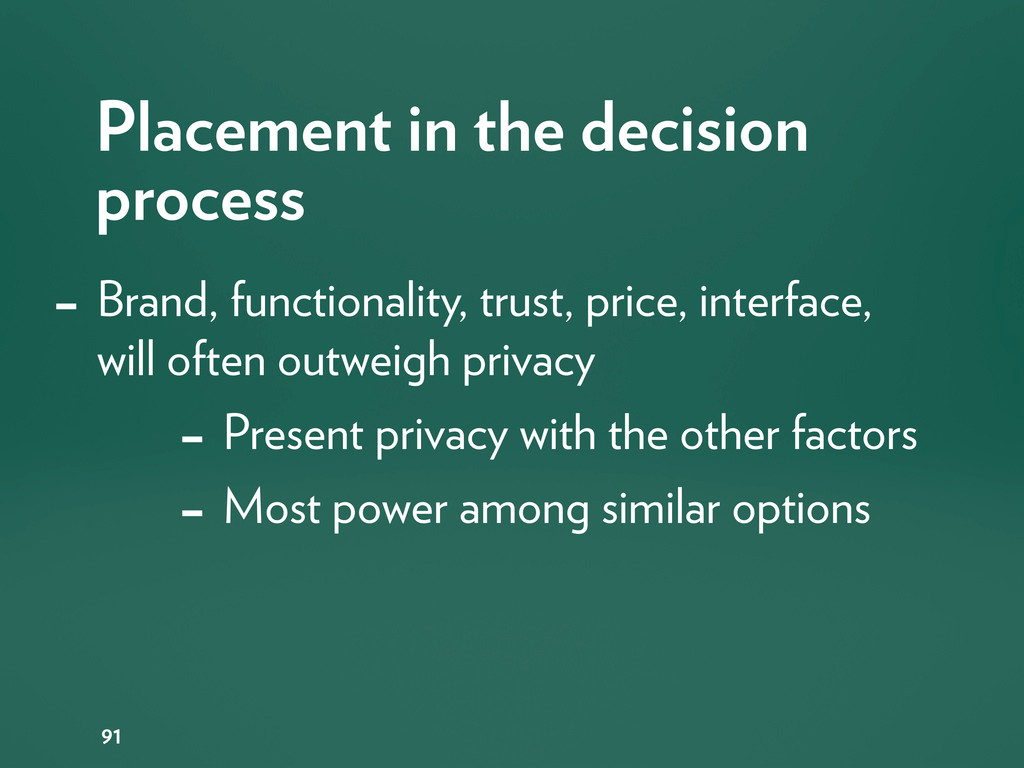 Placement in the decision process 91 - Brand, f...