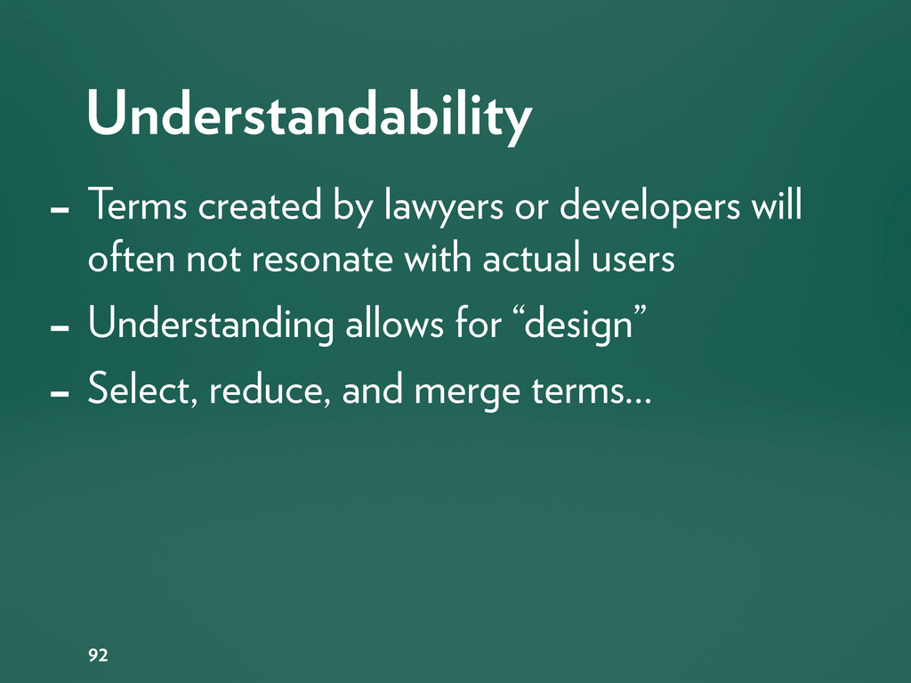 Understandability 92 - Terms created by lawyers...