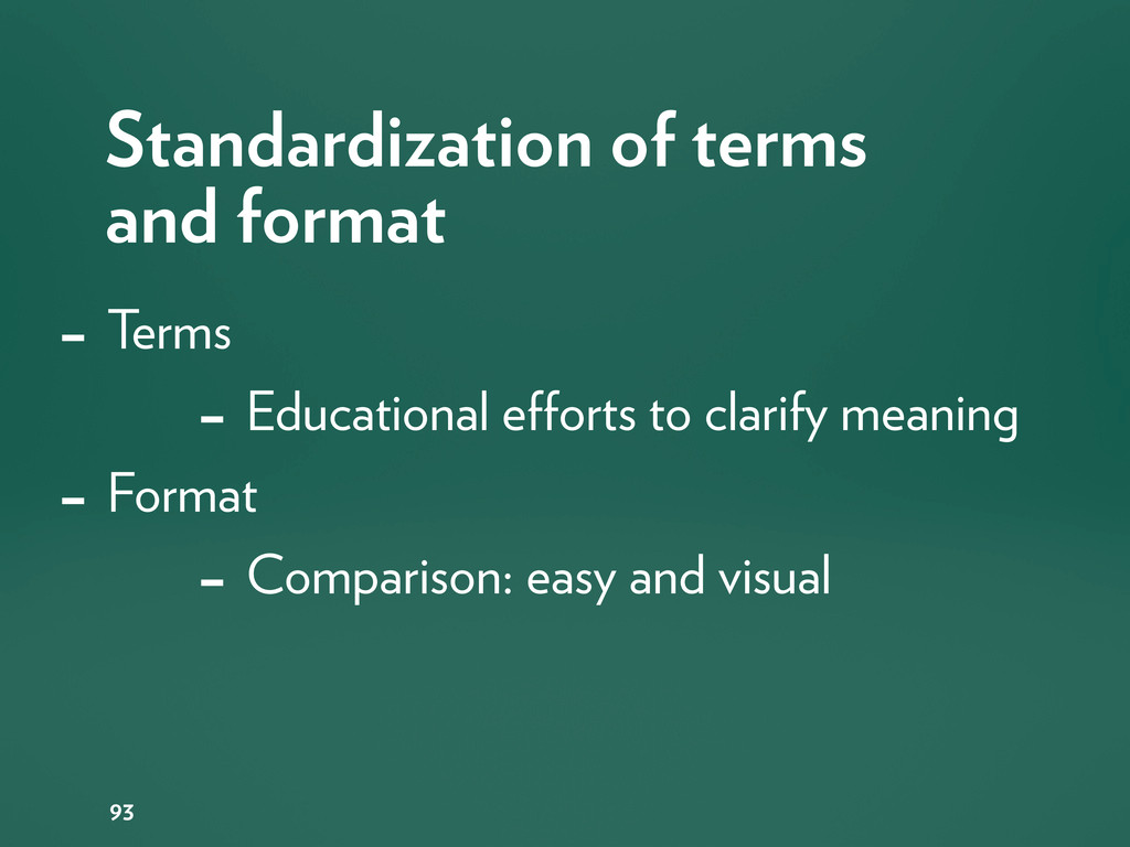 Standardization of terms and format 93 - Terms ...