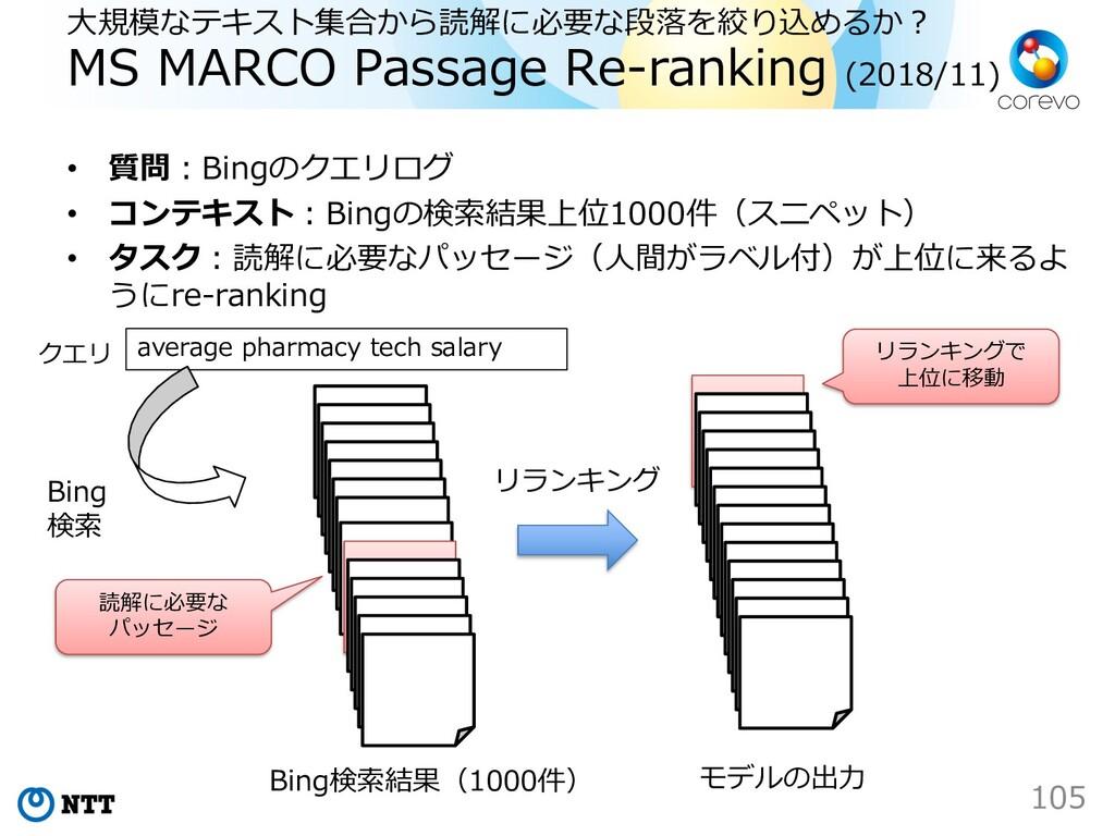 ⼤規模なテキスト集合から読解に必要な段落を絞り込めるか︖ MS MARCO Passage R...