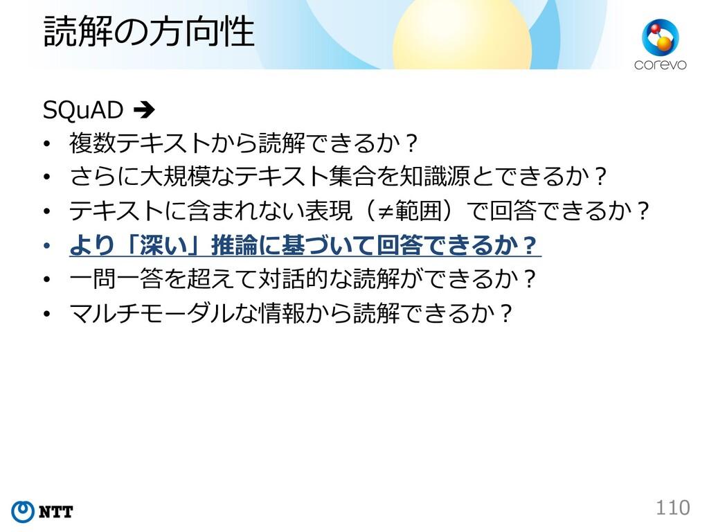 読解の⽅向性 SQuAD è • 複数テキストから読解できるか︖ • さらに⼤規模なテキスト集...