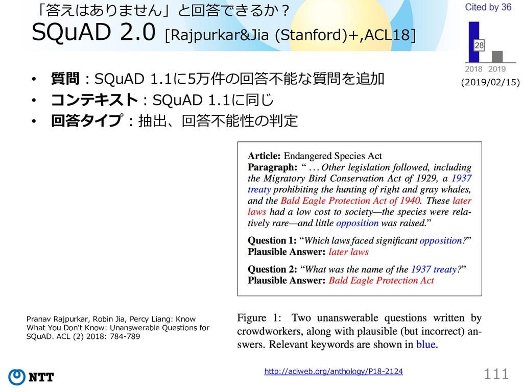「答えはありません」と回答できるか︖ SQuAD 2.0 [Rajpurkar&Jia (St...