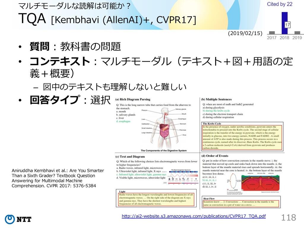 マルチモーダルな読解は可能か︖ TQA [Kembhavi (AllenAI)+, CVPR1...