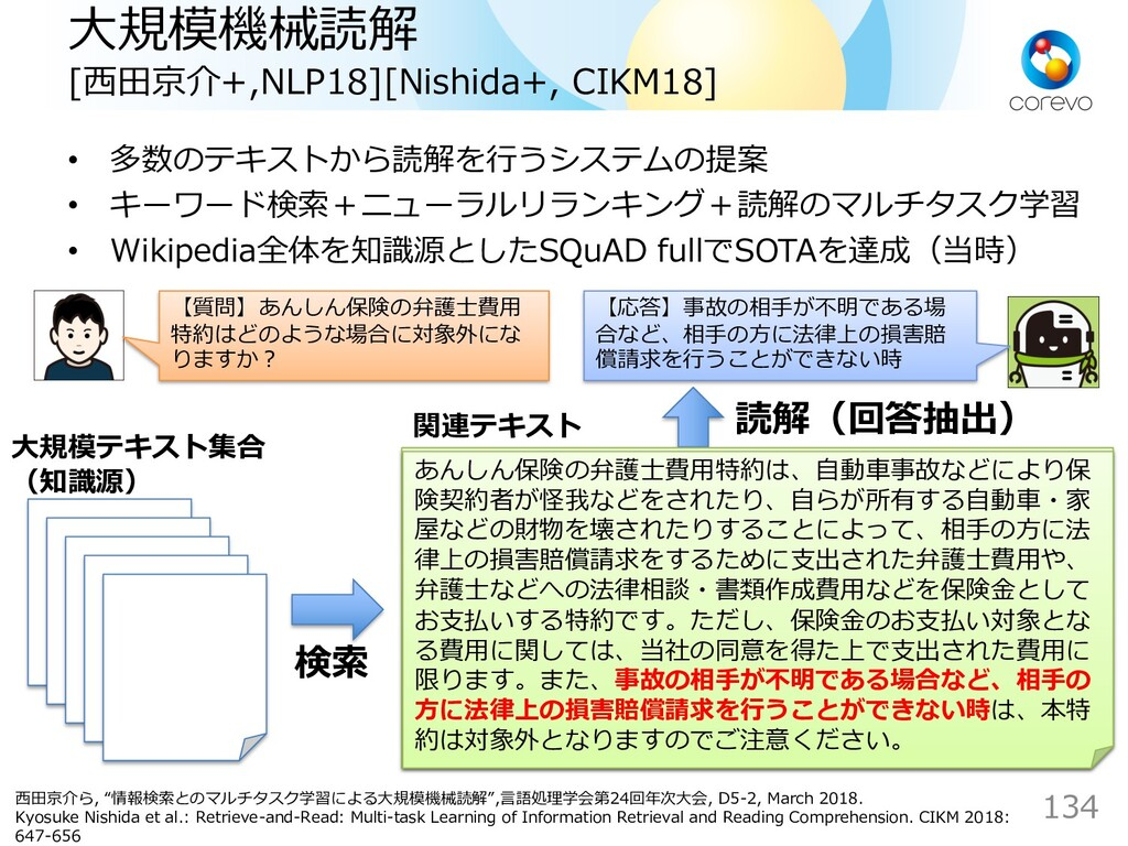 ⼤規模機械読解 [⻄⽥京介+,NLP18][Nishida+, CIKM18] ⼤規模テキスト...
