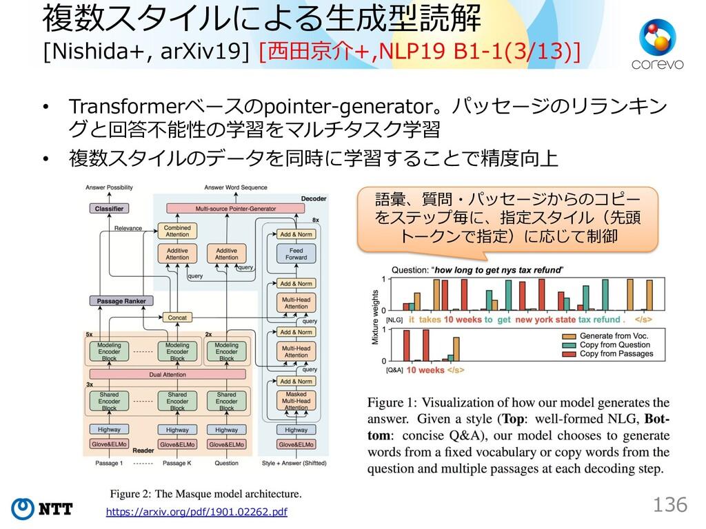 複数スタイルによる⽣成型読解 [Nishida+, arXiv19] [⻄⽥京介+,NLP19...
