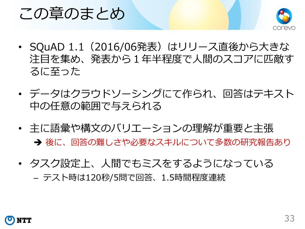 この章のまとめ • SQuAD 1.1(2016/06発表)はリリース直後から⼤きな 注⽬を集...