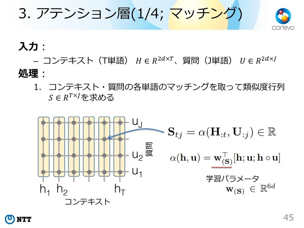 ⼊⼒︓ – コンテキスト(T単語)  ∈ %!×#、質問(J単語)  ∈ %!×$ 処理︓ 1...