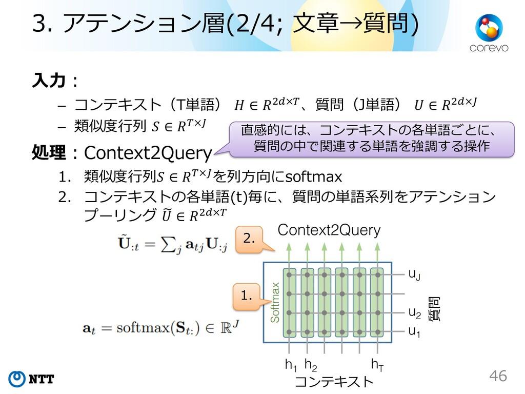 ⼊⼒︓ – コンテキスト(T単語)  ∈ %!×#、質問(J単語)  ∈ %!×$ – 類似度...