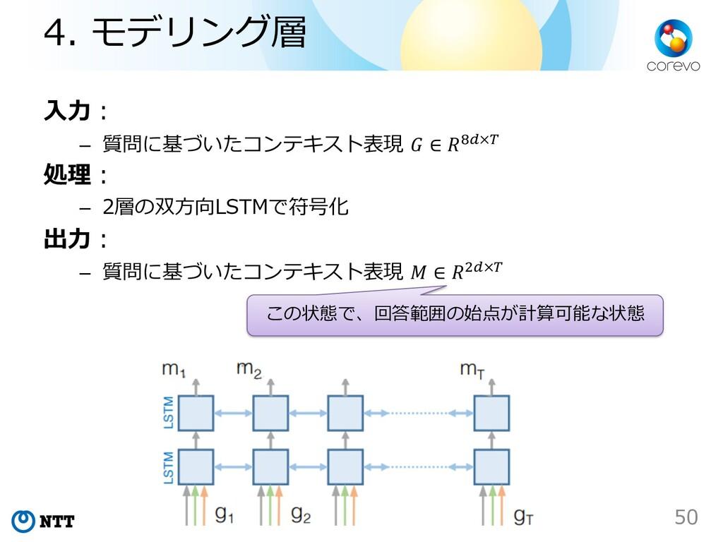 ⼊⼒︓ – 質問に基づいたコンテキスト表現  ∈ )!×# 処理︓ – 2層の双⽅向LSTMで...