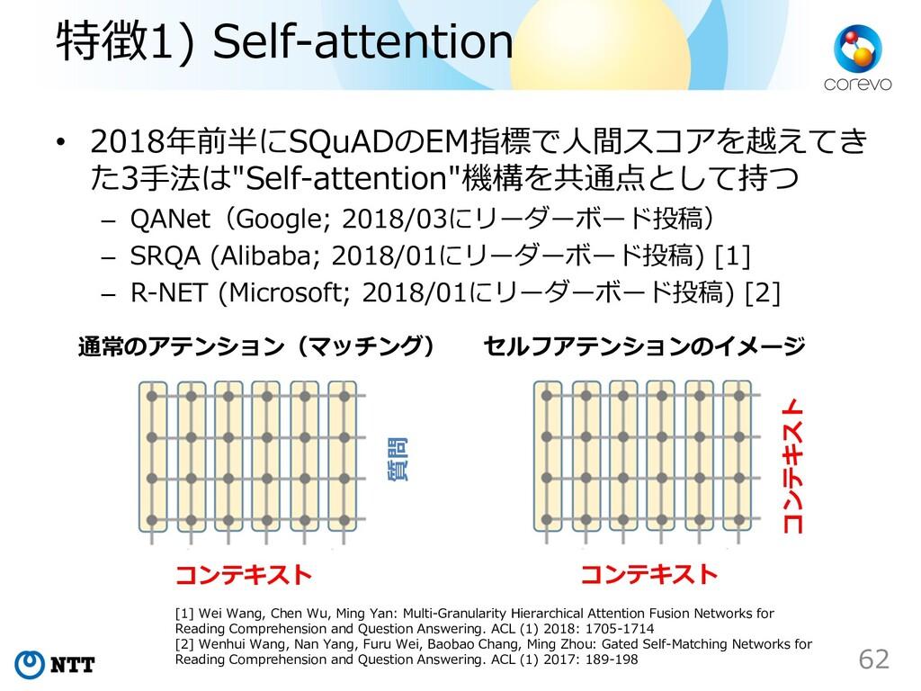 特徴1) Self-attention • 2018年前半にSQuADのEM指標で⼈間スコアを...