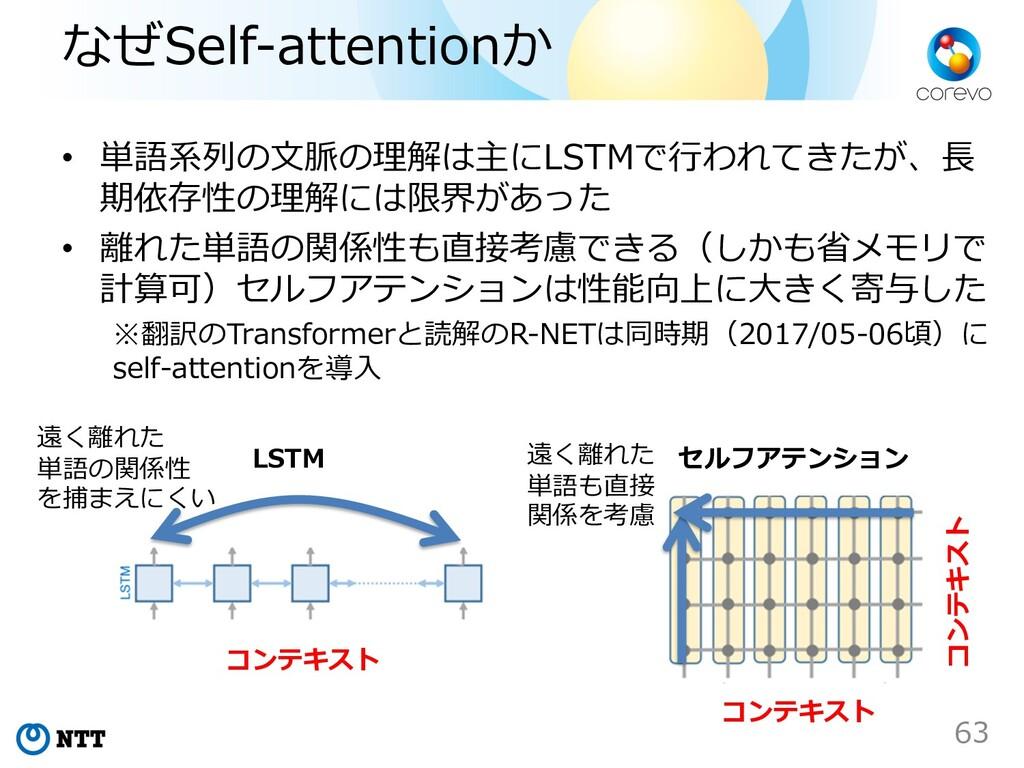 なぜSelf-attentionか • 単語系列の⽂脈の理解は主にLSTMで⾏われてきたが、⻑...