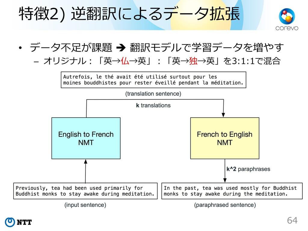 特徴2) 逆翻訳によるデータ拡張 • データ不⾜が課題 è 翻訳モデルで学習データを増やす –...