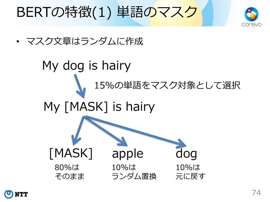 BERTの特徴(1) 単語のマスク • マスク⽂章はランダムに作成 My dog is hai...